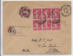 DESTINATION / SEMEUSE - 1926 - ENVELOPPE RECOMMANDEE De PARIS => VALLETTA (MALTE)  ! - Marcophilie (Lettres)