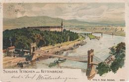 Litho AK Tetschen Bodenbach Decin Podmokly Brücke Kettenbrücke Schloß Hafen Dampfer Rosawitz Krochwitz Böhmische Schweiz - Sudeten