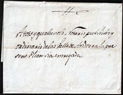 1810. URGELL TO ANDORRA. NOTARIAL NOTICE. COST ANNOTATION ON REVERSE. EXCEPTIONAL AND RARE POSTAL DOCUMENT. - Cartas