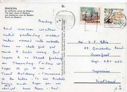 1980 Portugal Postcard Multiview Madeira Posted Funchal To GB Pmk Lubrapex 80 - Postmark Collection
