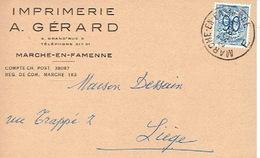CP Publicitaire MARCHE-EN-FAMENNE 1952 - IMPRIMERIE A. GERARD - Marche-en-Famenne
