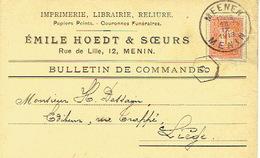PK Publicitaire MENEN 1913 - EMILE HOEDT & SOEURS Imprimerie, Librairie, Reliure, Couronnes Funéraires Te MENIN - Menen