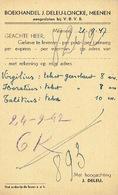 PK Publicitaire MENEN 1947- J. DELEU - LONCKE - Boekhandel Te MENIN - Menen