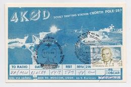 NORTH POLE 28 Radio QSL Card Drift Station Base Mail Used Arctic USSR RUSSIA Icebreaker Krenkel Operator - Stazioni Scientifiche E Stazioni Artici Alla Deriva
