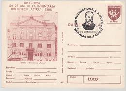 Music   CEAIKOVSKI   ROMANIA 1986 , 125 YEARS SINCE THE FOUNDATION OF ASTRA SIBIU LIBRARY, SPECIAL POSTMARK CEAIKOVSKI - Muziek