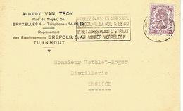 CP Publicitaire BRUXELLES 1950 - Albert VAN TROY - Représentant Des Etablissement BREPOLS à TURNHOUT - Belgique