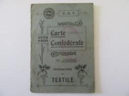 France - Fédération Du Textile - Carte Confédérale CGT 1919-1920 - Documents Historiques