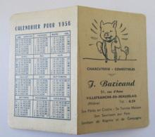Petit Calendrier Publicitaire Ouvrant De La Charcuterie J. Buricand, Villefranche En Beaujolais - Petit Format : 1941-60
