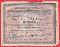 France  1 Bon De 1 Franc --Hirson -- (Aisne) Dans L 'état - Bonds & Basic Needs
