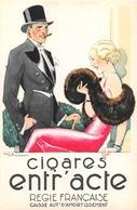 """Carte Publicitaire  -  Illustrateur """" René VINCENT """" -  Cigares """" ENTR'ACTE """" - Publicité"""