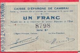 France  1 Bon De 1 Franc  --Cambrai -- (Nord) Dans L 'état - Bons & Nécessité