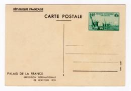 Entier Postal 1939 Exposition Internationale De New-York 70c Vert, Neuf, YT 426-CP1 - Standard Postcards & Stamped On Demand (before 1995)