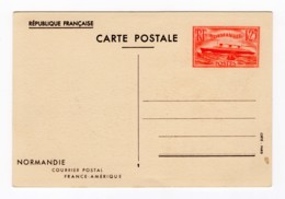 Entier Postal 1939 Paquebot Normandie 1,25 Frs Vermillon, Neuf, YT 299-CP1 - Standard Postcards & Stamped On Demand (before 1995)