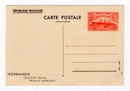 Entier Postal 1939 Paquebot Normandie 1,25 Frs Vermillon, Neuf, YT 299-CP1 - Entiers Postaux