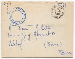 AFN Enveloppe En Franchise Avec Cachet Rond Bleu Du Vaguemestre Du 61°RAA Oblitération Tizi Ouzou Du 31/10/60 - Marcophilie (Lettres)