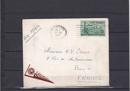 ENVELOPPE   ETATS-UNIS  Départ EASTON 1954 + PA N°37 - Luftpost