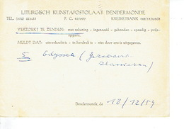 PK Publicitaire DENDERMONDE 1954 - LITURGISCH KUNSTAPOSTOLAAT DENDERMONDE - Dendermonde