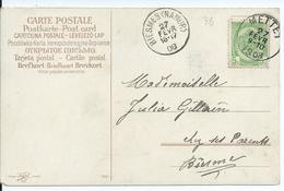 Fantasiekaart Met OCB 83 - Afstempeling METTET / BIESMES(NAMUR) - COBA 8 - 1893-1907 Coat Of Arms