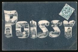 POISSY (78, Yvelines) : Multivues, Lettres (circulée, 1907), 2 Scans, Pour Paris - Poissy