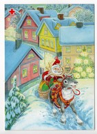 Postal Stationery RED CROSS  FINLAND - Artist: Marjaliisa Pitkäranta -SANTA CLAUS & REINDEER - BULLFINCHES On STAMP - Finland
