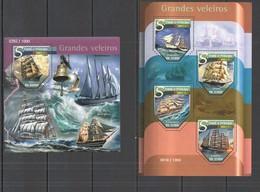 ST1484 2015 S.TOME E PRINCIPE TRANSPORT SHIPS GRANDES VELEIROS KB+BL MNH - Ships