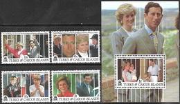 Turks & Caicos  1991  Sc#913, 916-7, 920, Royal Family Birthday & 922 Souv Sheet   MNH  2016 Scott Value $18.20 - Turks & Caicos