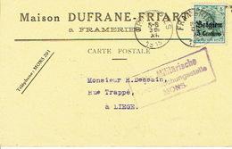 Entier Germania FRAMERIES Via LUTTICH 1915 Vers LIEGE - Censure De MONS - CP Publicitaire Maison DUFRANE-FRIART - Guerre 14-18