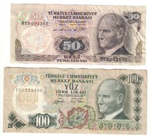 Turkey 50 & 100 Lirasi 1979 Set Lot - Turquie