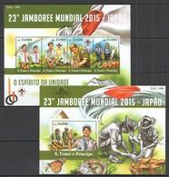 ST1541 2015 S. TOME E PRINCIPE SCOUTISME 23TH JAMBORE MUNDIAL 2015 JAPAN KB+BL MNH - Scoutisme