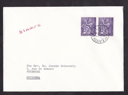 Vatican: Cover To Switzerland, 1972, 2 Stamps, Art, Music, Musician (traces Of Use) - Vaticaanstad