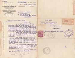 289 1,75F. ROSE LILAS PAIX Sur LR Du 9.4.35 - LE HAVRE - TEXTE INTÉRESSANT - 1932-39 Paix