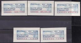 VIGNETTE AVION  CANNES FESTIVAL DU FILM 1947 RALLYE  AERIEN TB* X5 - Commemorative Labels