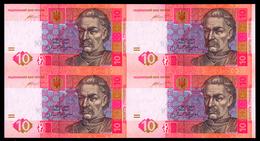 UKRAINE UNCUT SHEET OF 4 NOTES 10 HRYVEN 2015 HONTAREVA Pick 119Ad Unc - Ukraine