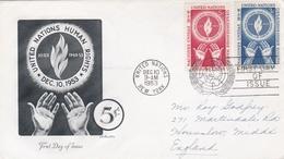 ONU :  Yvert  21 23  Sur Lettre Oblitération 1er Jour New-York Du 10 12 1953. Mains - New-York - Siège De L'ONU