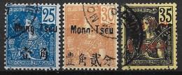 MONGTZEU : TYPE GRASSET N° 24/26 OBLITERATIONS CACHETS A DATE - Mong-tzeu (1906-1922)
