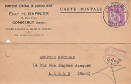 281 40c LILAS PAIX SEUL S/ CARTE POSTALE COMMERCIALE - GARNIER COMMERCY 8.8.35 - 1932-39 Frieden