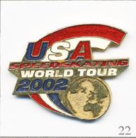 Pin's Sport - Patinage De Vitesse / World Tour 2002 USA. Non Estampillé. Métal Peint (pointe Réparée). T669-22 - Patinage Artistique