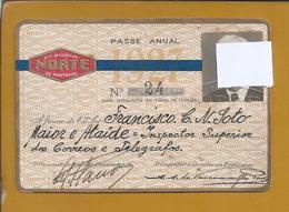 Passe Anual 1927 De Caminhos De Ferro Do Norte Portugal. Inspector De Correio Por Caminho De Ferro. Annual Pass Railways - Variétés Et Curiosités