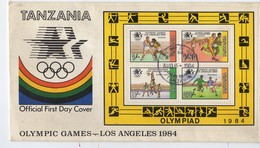 Fdc Bloc De 4 Timbres Tanzanie / Tanzania - Jeux Olympiques - Olympic Games Los Angeles 1984 - Summer 1984: Los Angeles
