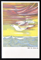 450062 Japan ~ DOVE Pigeon Soaring Above Sea ~ PEACE Symbol Propaganda ~ Art Painting Japanese Postcard - Paintings