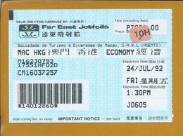 Far East Jetfoils Ticket From Macau 1992. Verre Oosten Jetfoils Ticket Uit Macau 1992. Sociedade De Turismo De Macau. - Inschepingsbiljetten