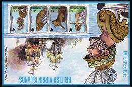 British Virgin Islands 1975 Queen Elizabeth Mini Sheet Celebrating Interpex 75 (Ships Figureheads). - British Virgin Islands