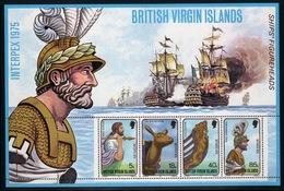 British Virgin Islands 1975 Queen Elizabeth Mini Sheet Celebrating Interpex 75 (Ships Figureheads) Upright Watermark. - British Virgin Islands
