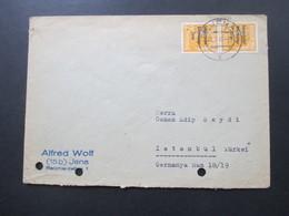 SBZ 1948 Nr.191 (2) Senkrechtes Paar! MeF Auslandsbrief Von Jena Nach Istanbul Türkei - Zona Soviética