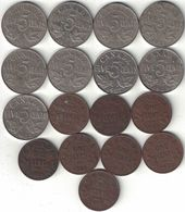 Canada Collection Of 17x 1 & 5 Cent Coins 1920-1936 All Listed & Different - Canada