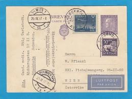 GANZSACHE MIT ZUSATZFRANKATUR  PER LUFTPOST NACH WIEN. - Postal Stationery