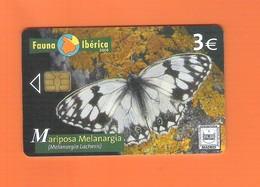 "CHIPCARD SPAIN SERIE FAUNA IBÉRICA ""MARIPOSA MELANARGIA"" P583 - EX: 4000 - USED - Emissions Privées"