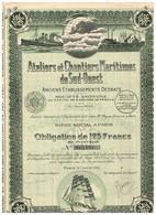 Obligation Ancienne- Ateliers Et Chantiers Maritimes Du Sud-Ouest - Anciens Ets Desbats - Société Anonyme -Titre De 1924 - Navigation