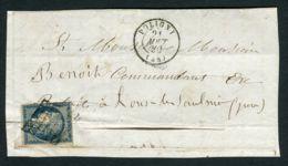 FRANCE  ( POSTE ) : Y&T  N° 4  BLEU , SUR  FRAGEMENT ,  C A D  DU  21  AOUT  1850 . - 1849-1876: Periodo Classico