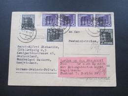 SBZ 1948 MiF Nr.183 Senkr.4er Streifen! Auslands PK Leipzig Nach Andorra! Zurück Postverkehr Nicht Zugelassen! Postkrieg - Zona Soviética